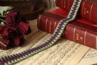 フランス・アンティーク リボン/ガロン モコモコ 紫×緑 ※50cmで280円(1単位:50cm)